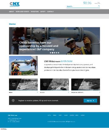 CNX Midstream Partners LP Website Screenshot