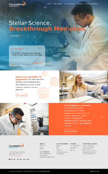 Constellation Pharmaceuticals, Inc. Website Screenshot