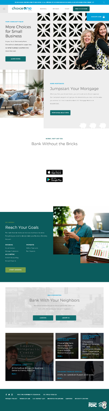 ChoiceOne Financial Services, Inc. Website Screenshot