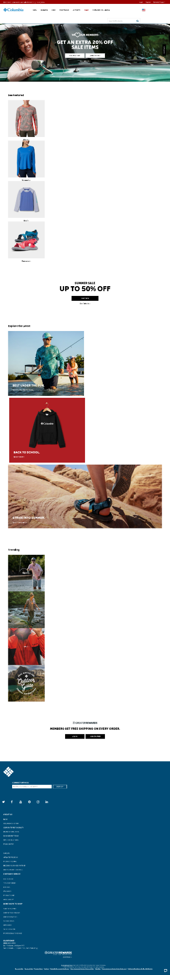 Columbia Sportswear Company Website Screenshot