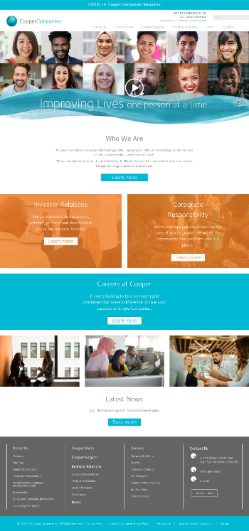 The Cooper Companies, Inc. Website Screenshot