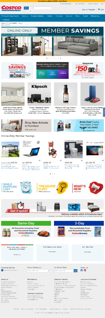 Costco Wholesale Corporation Website Screenshot