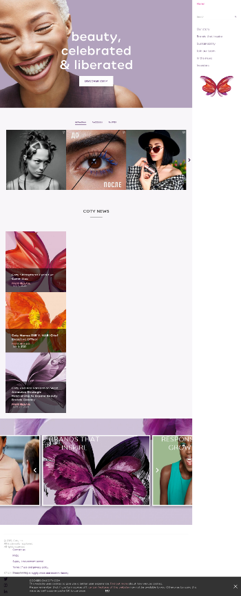 Coty Inc. Website Screenshot