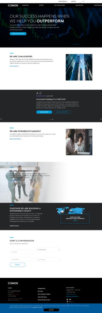 Cowen Inc. Website Screenshot