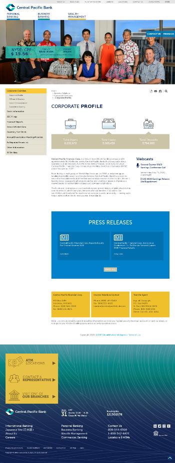 Central Pacific Financial Corp. Website Screenshot