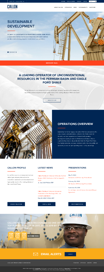 Callon Petroleum Company Website Screenshot