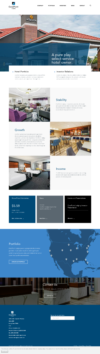 CorePoint Lodging Inc. Website Screenshot