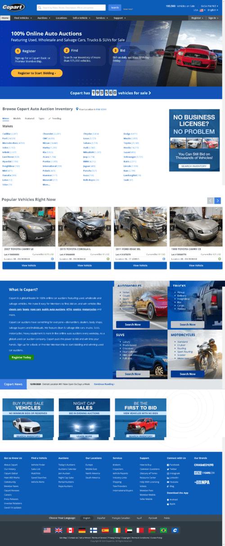 Copart, Inc. Website Screenshot