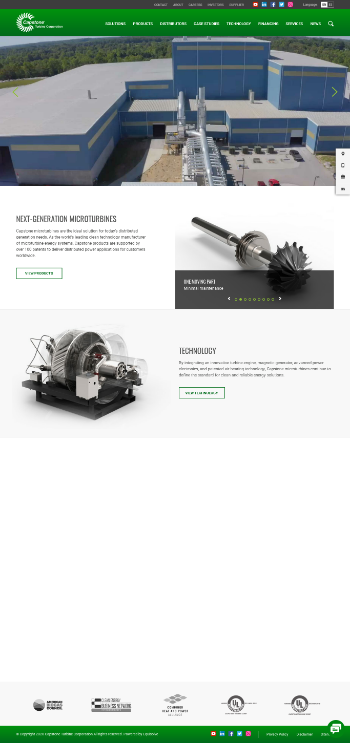 Capstone Turbine Corporation Website Screenshot