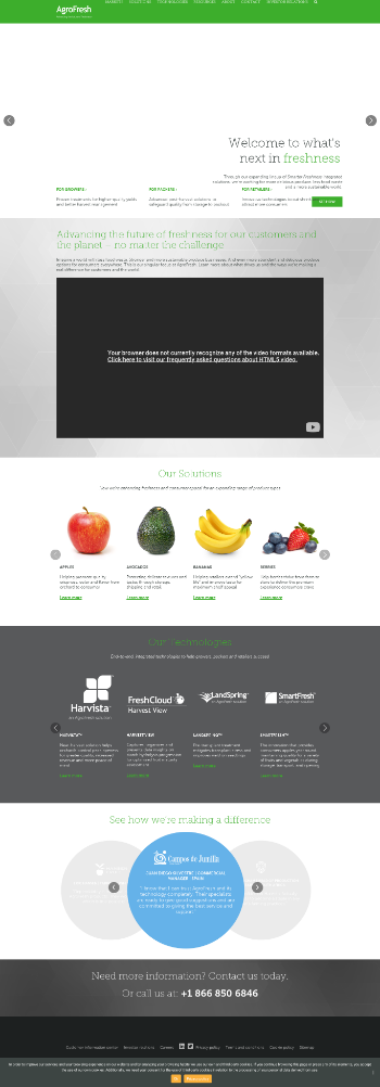 AgroFresh Solutions, Inc. Website Screenshot