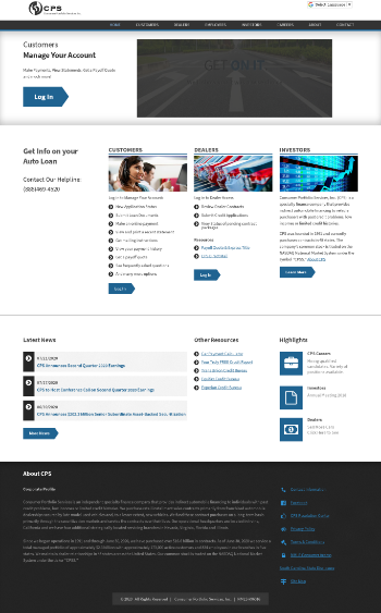 Consumer Portfolio Services, Inc. Website Screenshot