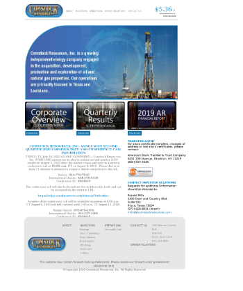 Comstock Resources, Inc. Website Screenshot