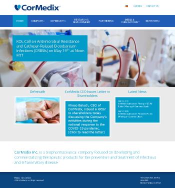 CorMedix Inc. Website Screenshot