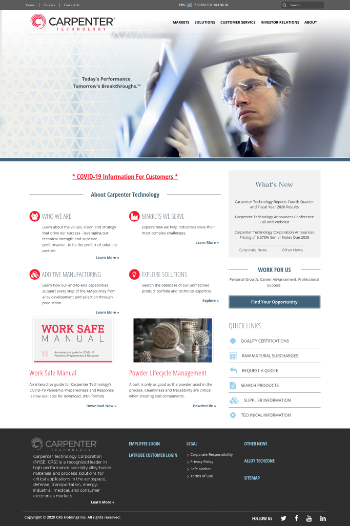 Carpenter Technology Corporation Website Screenshot