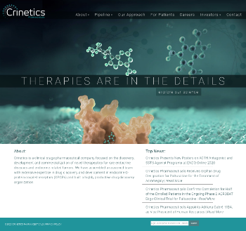 Crinetics Pharmaceuticals, Inc. Website Screenshot