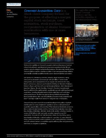 Crescent Acquisition Corp. Website Screenshot