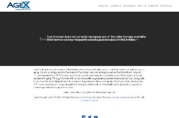 AgeX Therapeutics, Inc. Website Screenshot