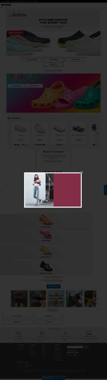 Crocs, Inc. Website Screenshot