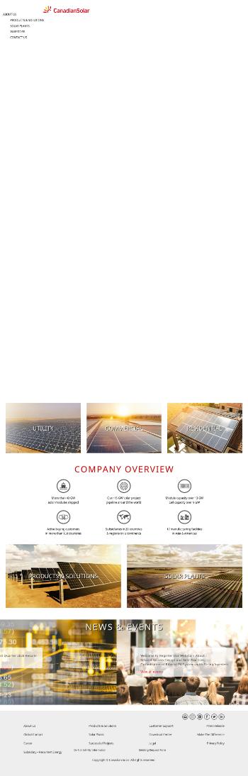Canadian Solar Inc. Website Screenshot