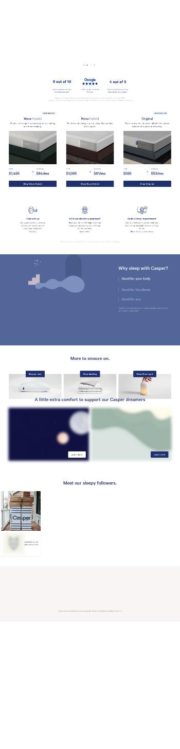 Casper Sleep Inc. Website Screenshot