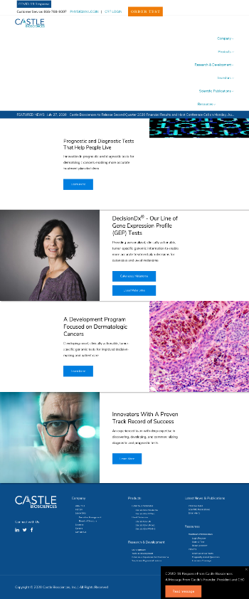 Castle Biosciences, Inc. Website Screenshot