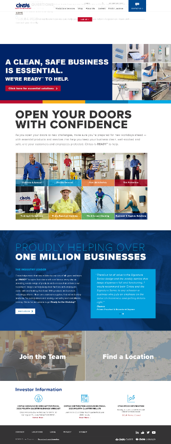 Cintas Corporation Website Screenshot