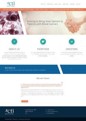 CTI BioPharma Corp. Website Screenshot