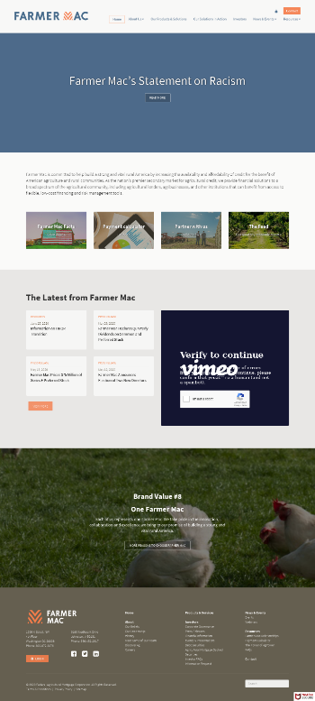 Federal Agricultural Mortgage Corporation Website Screenshot