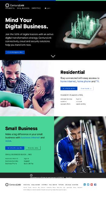 CenturyLink, Inc. Website Screenshot