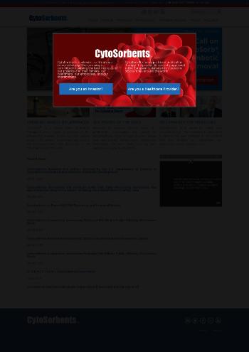Cytosorbents Corporation Website Screenshot