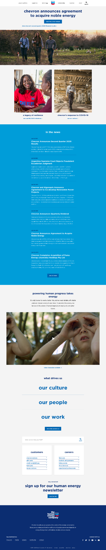 Chevron Corporation Website Screenshot