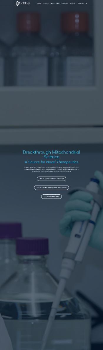 CohBar, Inc. Website Screenshot
