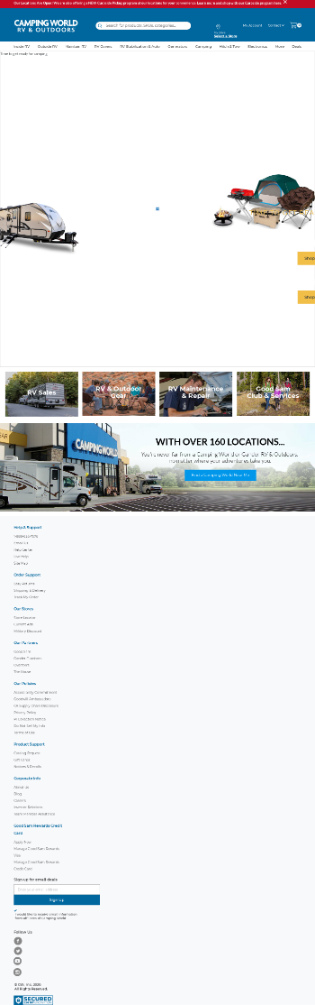 Camping World Holdings, Inc. Website Screenshot