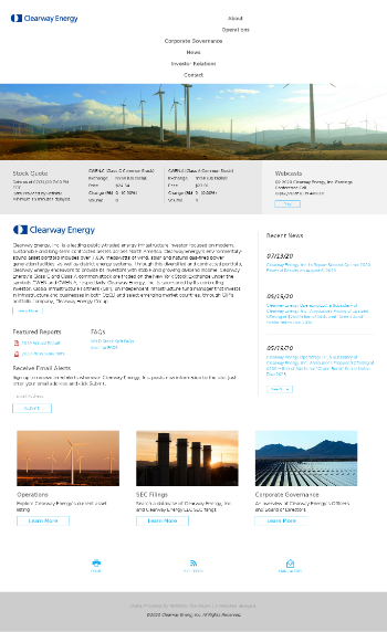 Clearway Energy, Inc. Website Screenshot