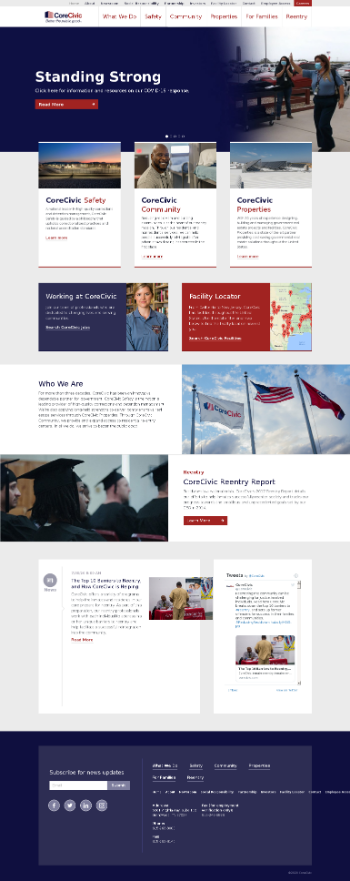 CoreCivic, Inc. Website Screenshot