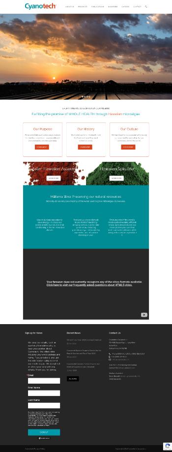 Cyanotech Corporation Website Screenshot