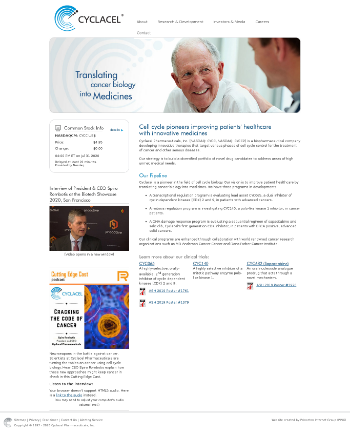 Cyclacel Pharmaceuticals, Inc. Website Screenshot