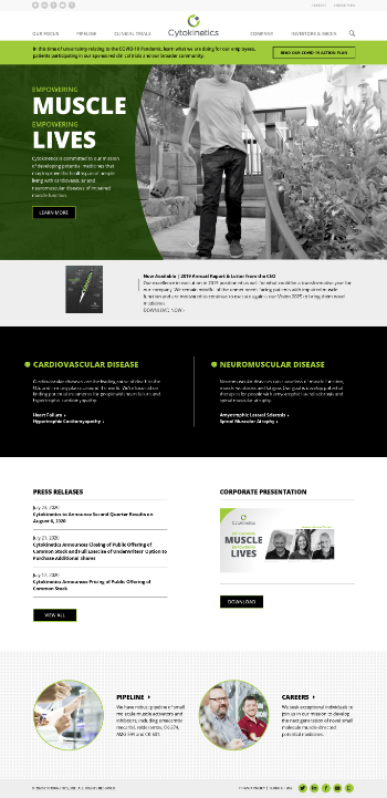 Cytokinetics, Incorporated Website Screenshot