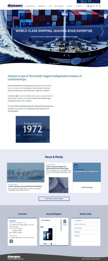 Danaos Corporation Website Screenshot