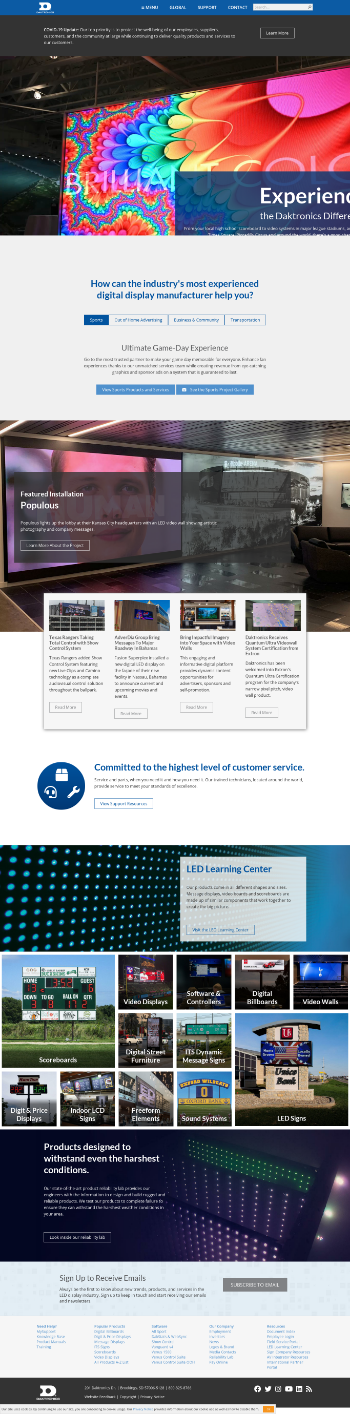 Daktronics, Inc. Website Screenshot