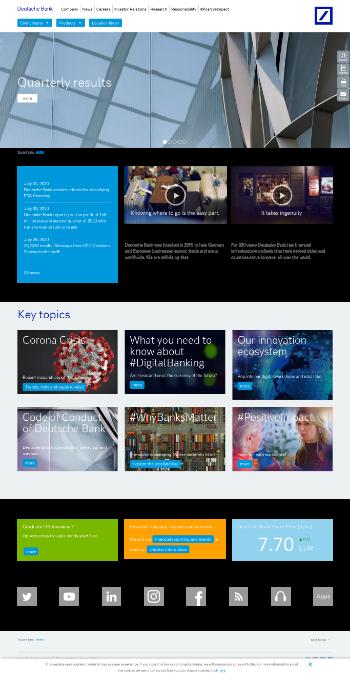 Deutsche Bank Aktiengesellschaft Website Screenshot