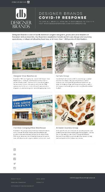 Designer Brands Inc. Website Screenshot