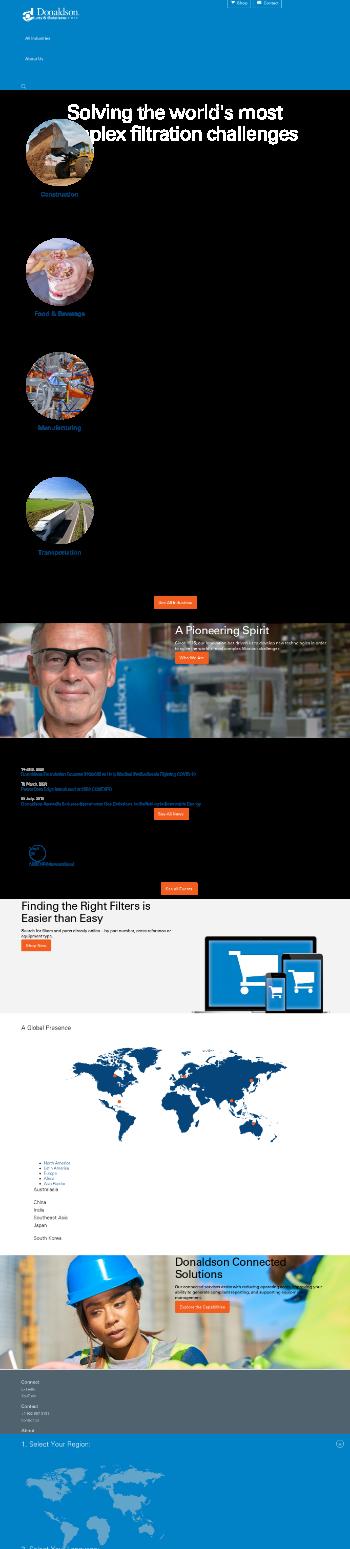 Donaldson Company, Inc. Website Screenshot