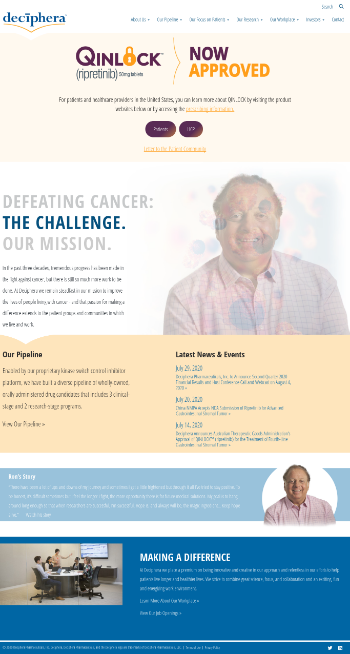 Deciphera Pharmaceuticals, Inc. Website Screenshot