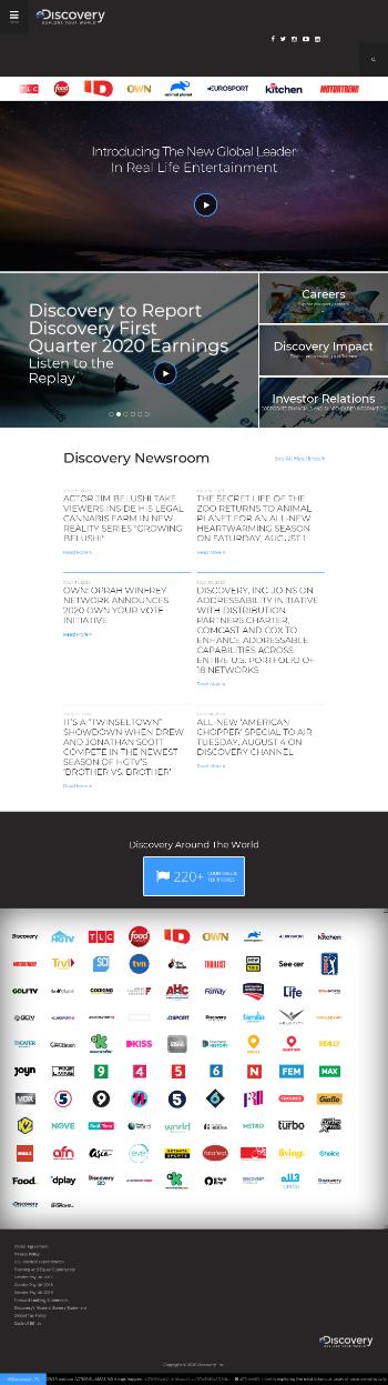 Discovery, Inc. Website Screenshot