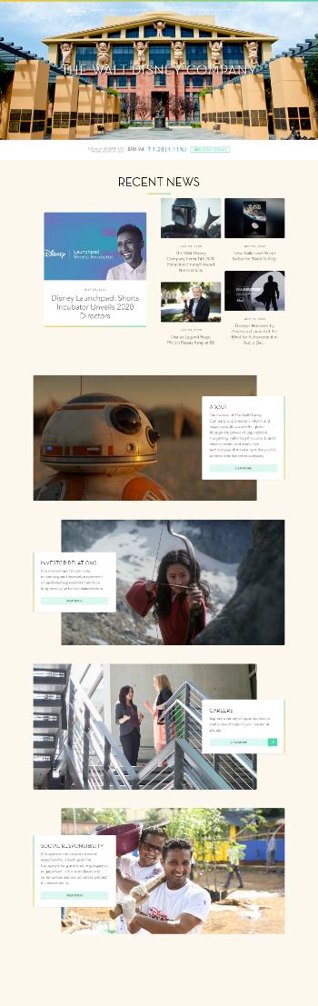The Walt Disney Company Website Screenshot