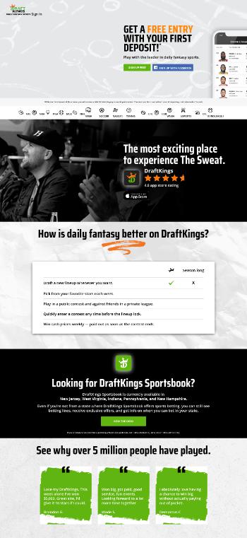 DraftKings Inc. Website Screenshot