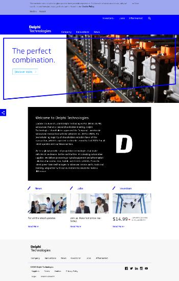Delphi Technologies PLC Website Screenshot