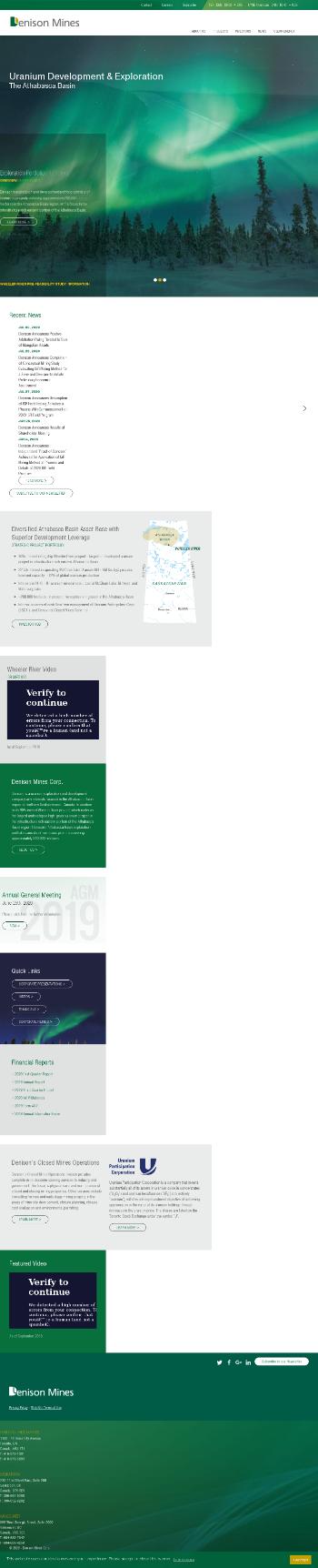 Denison Mines Corp. Website Screenshot