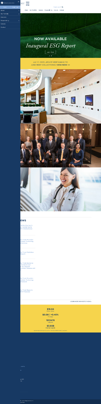 Physicians Realty Trust Website Screenshot